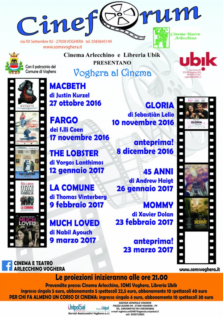 """Voghera al cinema"" Cineforum 2016/2017"